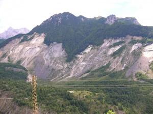 La frana del 1963 sul Monte Toc