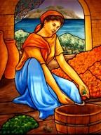 vetrata - particolare raffigurante donna siciliana