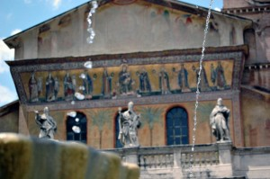 La fontana e la Basilica di Trastevere