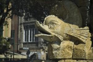 Particolare della fontana di Cristoforo Colombo