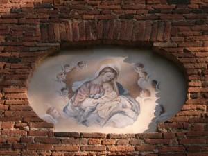 particolare della facciata del Santuario della Madonnetta