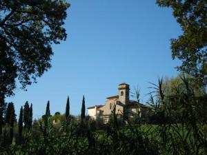 Appare tra ulivi e cipressi .San Martino a Mensola