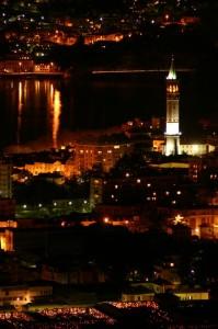 Notturno lecchese con il campanile di S.Nicolò