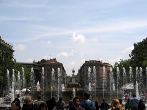 una delle poche fontane a Milano