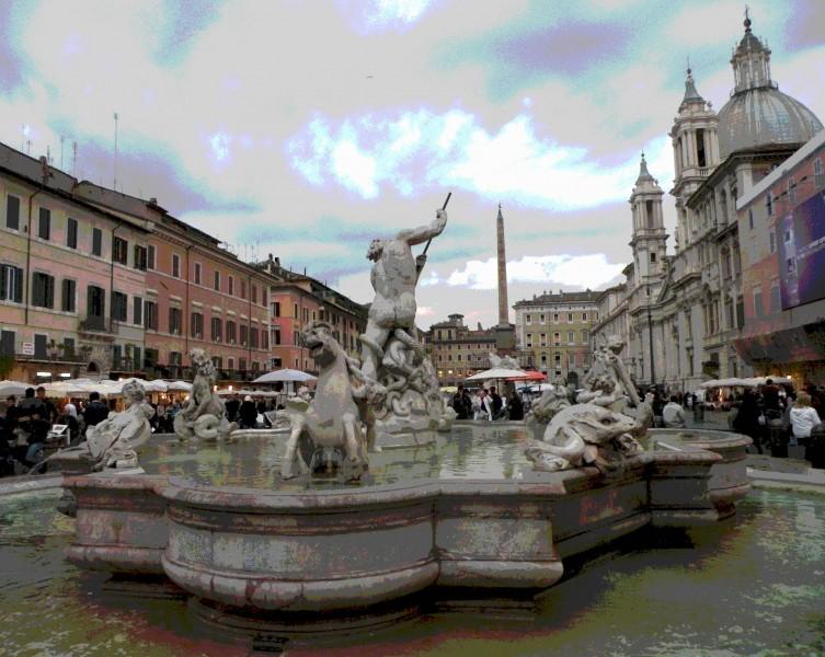 ''Fontana del Nettuno in P.za Navona'' - Roma