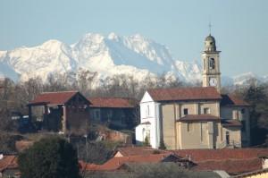 Monte Rosa e Chiesa dei SS Quirico e Giuditta di Cavagliano