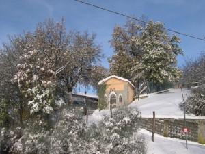 Zocca.Fraz.Rosola -Edicola: la madonnina dei ciclamini sotto la neve
