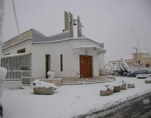 Sacro Cuore di Gesu: Una nevicata del caldo Sud Italia