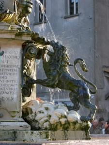 Fontana della piazza: particolare del leone