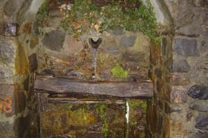 fontana in legno all'interno del paese