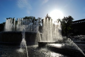 Giochi d'acqua al Castello Sforzesco