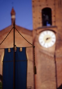 vista campanile sfocato,durante la festa patronale