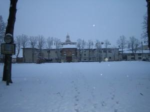 neve sul monumento di Certosa di Pavia - Novembre 2008