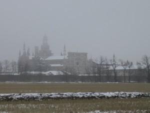 La Certosa di Pavia nella nebbia