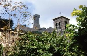 Il campanile della Chiesa di San Pietro spunta tra gli alberi