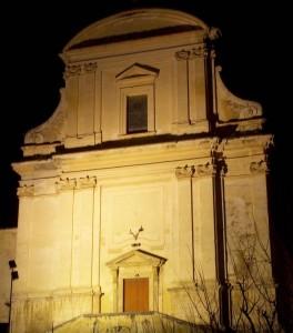 notturno della facciata della chiesa di San Demetrio