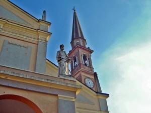 Campanile di Copparo con scorcio della Chiesa di San Pietro e Paolo