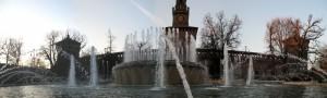 Panoramica della fontana di piazza Castello