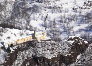 Il Santuario di San Chiaffredo dall'alto