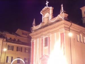 Chiesa della Motta con falò