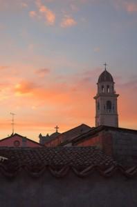 tramonto sul campanile