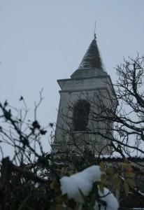 campanile fra piante e neve