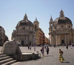 Le Chiese gemelle in Piazza del Popolo in Roma