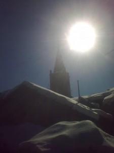 Un segno sotto il sole splendente