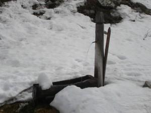 Pragelato, fontana in legno nel Parco della Val Troncea