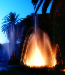 Giardino inglese (Palermo)  fontana in notturno