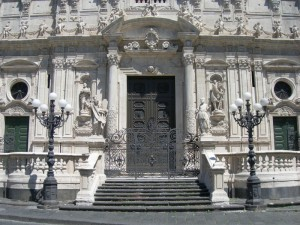 Particolare della facciata di San Sebastiano