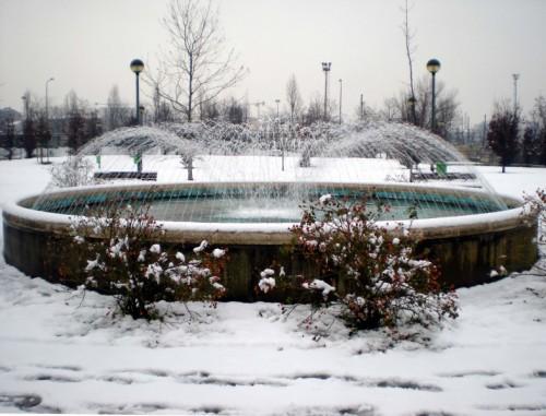 Milano - Fontana nell'ultima neve
