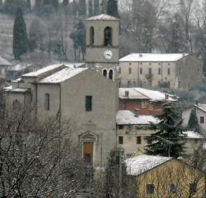 Chiesa di Custoza con neve bis