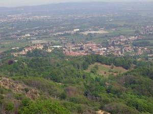 Valperga fotografata dal santuario di Belmonte