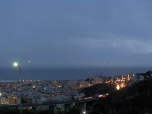 Panorama di Reggio e Messina sotto la pioggia