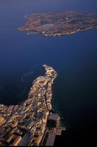 Panorama aereo dell'Isola di Ortigia