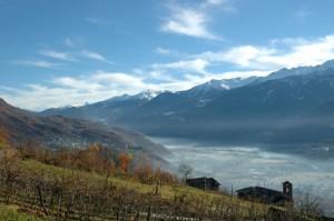 Castionetto di Chiuro e il fondovalle di Chiuro da Ponte in Valtellina