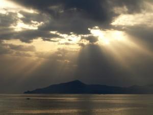 monte di Portofino al tramonto