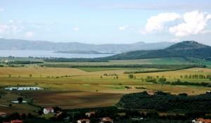 Vista panoramica sul Trasimeno dalle colline di Panicale