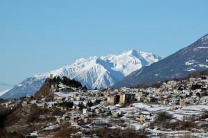 Panorama di Teglio dalla strada per l'Aprica