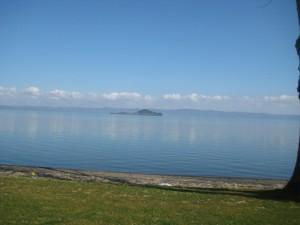 L'isola Bisentina vista dalla riva (lago di Bolsena)