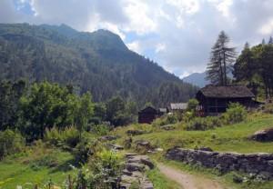 Le tipiche case Walser della frazione Deccia