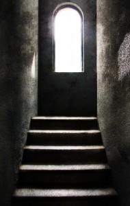particolare della scala interna del Castello di Moncalvo ( AT)