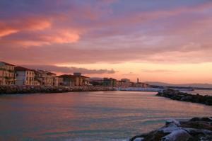 tramonto su marina di pisa