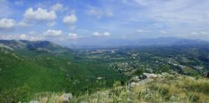 Valle del Sacco sullo sfondo Colleferro, Valmontone e sulle montagne Artena