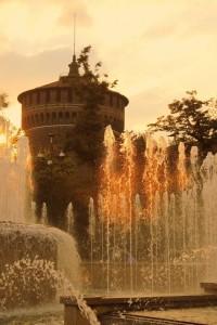Tramonto sulla torre degli Sforza
