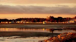tramonto sulla spiaggia vecchia di grado