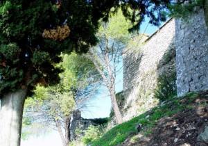 Un castello tra alberi e cimitero