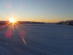tramonto nella neve