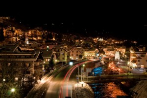 Lights painting Ortisei by night